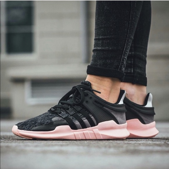 Adidas Limited Edition Pink Sole EQT Support ADV Sneakers 8.5 Black Grey Suede